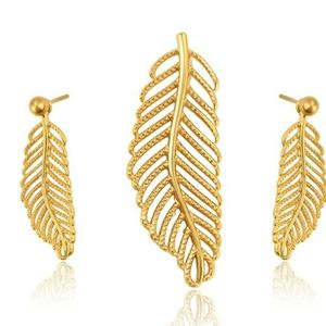 Fashion gold leaf shape necklace and earrings